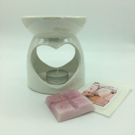 Pearl, Pink Or Grey Ceramic Heart Wax Burner & Wax Melts
